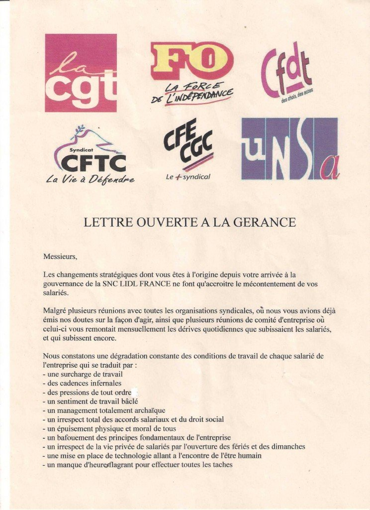 Courrier intersyndical envoyé à Monsieur FUCHS gerant LIDL FRANCE lettre-gerance-11